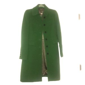 Jcrew Green Black Button Double Cloth Coat